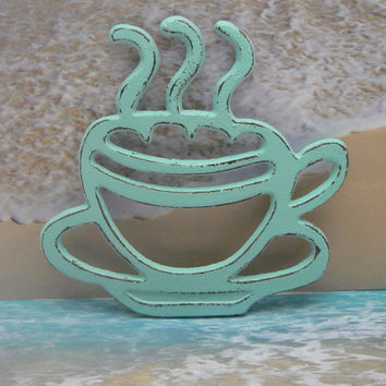 Coffee Cup Cast Iron Trivet Hot Plate Beach Light Blue Distressed Cottage Shabby Chic Ornate Steam Swirls Tea Cup Kitchen Country Chic Decor