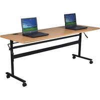 """Economy Steel Flipper Table with Wood Grain Finish (72"""" x 24"""") Office New Free"""