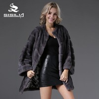 SISILIA 2016 New Arrival Women Fashion Blue Iris Male Mink Diagonal JacketWith Leather Belt 100% Real Natural Mink Fur Coats