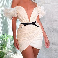 Sexy Women Fashion V Collar Satin Strapless Flying Sleeves Ruffled Irregular Dress