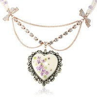 """Betsey Johnson """"Vintage Bows"""" Floral Printed Heart Pendant Necklace, 20"""""""