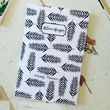 Black & White Leaf Personalized Planner