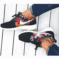 NIKE Women Men Running Sport Casual Shoes Sneakers Black Print