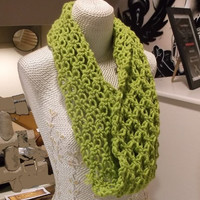 Shoulder Warmer, Infinity Lace Lime Green Scarf, Crochet, Chunky Cowl Scarf