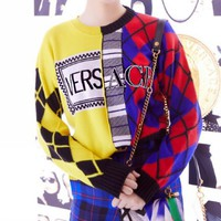 Versace Autumn Winter Newest Fashion Women Color Matching Long Sleeve Round Collar Sweater Pullover Top Sweatshirt