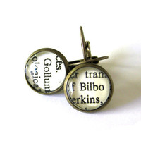 Bilbo Baggins and Gollum Lord of the Rings Hobbit Recycled Library Card Word Earrings Patina Brass