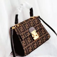 Fendi 2019 new retro double F printing flip female bag