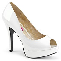 "Chloe 01 Open Toe Platform Pumps White Patent - 5.25"" Heels"