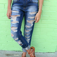 Summer Spice Distressed Faded Blue Boyfriend Jeans