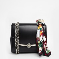 Love Moschino Black Structured Cross Body Bag with Detachable Scarf