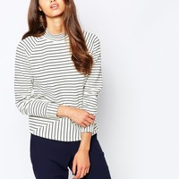 Selected Striped Sweat with Mock Neck at asos.com