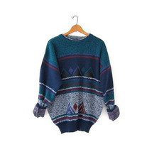 Vintage abstract sweater. Boyfriend knit sweater. Cosby sweater. Leather patch sweater. Slouchy pullover.