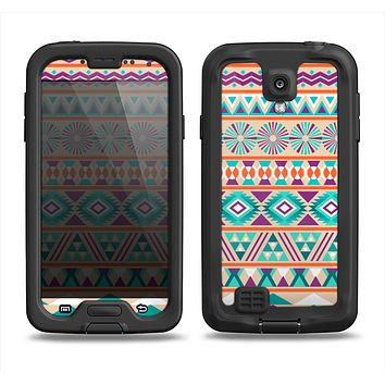 The Tan & Teal Aztec Pattern V4 Samsung Galaxy S4 LifeProof Fre Case Skin Set