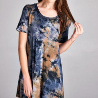 Tie Dye Tunic Dress - Navy/Taupe