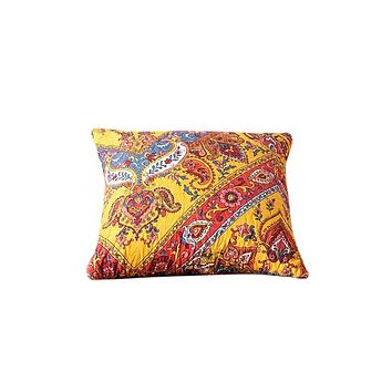 Tache Mustard Yellow Blue Red Paisley Chevron Hanging Gardens Cushion Cover 2-Pieces (HS3148Y)