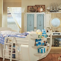 Fitted wooden bedroom set for boys Cameretta del Capitano Collection by Caroti