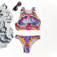 Printed Neon High Neck Bikini Set