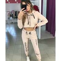 Louis Vuitton LV x PRADA x CELINE Fashionable Women Print Long Sleeve Top Pants Set Two-Piece Sportswear Apricot