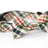 2 colors to choose from, Seersucker Plaid Green or satin green polka dot, Bow Tie Dog and Cat Collar Bow Tie Dog Wedding- Dog Collar