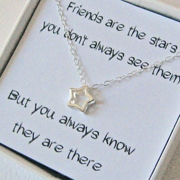 Star Necklace, 925 Sterling Silver, Small Star Necklace, Minimal Necklace, Dainty Thin Chain, Friend's Necklace, Message Card, Gift under 25