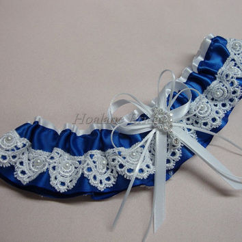 Garter, Royal blue ribbon with white lace garter, Bridal garter
