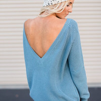 Open Back Oversized Sweater in Teal