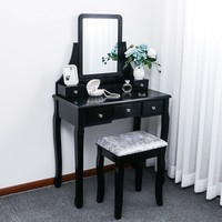 Black Elegant Wood Vanity And Mirror With Cushioned Stool And Drawers