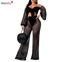Sexy Club Two Piece Set Women Clothes Fishnet Corp Top and Pants 2pcs Matching Sets See Through Summer Beach Outfits
