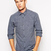 Selected | Selected Brushed Cotton Shirt With Placket Detail In Slim Fit at ASOS
