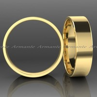 Wide Chunky 14K Yellow Gold Mens or Womens Wedding Ring