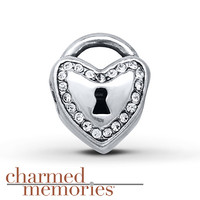 Charmed Memories Heart Lock Charm Sterling Silver