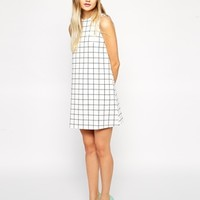 ASOS Scuba Shift Dress in Check Print