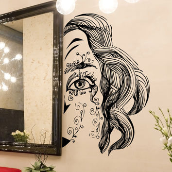 Vinyl Wall Decal Sticker Half Painted Face #5264