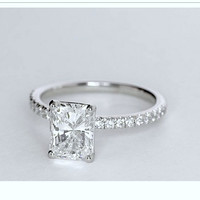 1.52ct Radiant Cut Diamond Engagement Ring H-VS2  JEWELFORME BLUE GIA certified