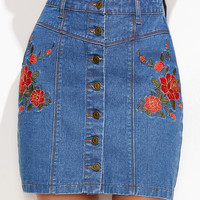 Blue Flower Embroidered Denim Skirt