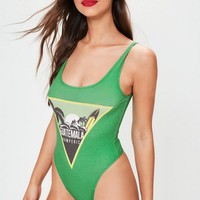 Missguided - Green Guatemala Graphic Bodysuit