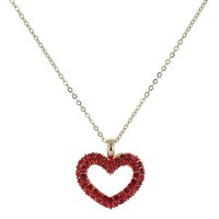 Pave Open Heart Pendant Necklace in Siam Ruby Crystals in 14k Gold