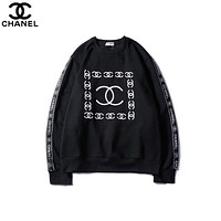 2018 autumn new tide brand letter logo printing men and women round neck long sleeve pullover sweater Black