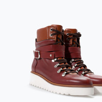 Leather wedge mountain bootie