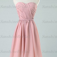 2014 New A-line Sweetheart Sleeveless Knee-length Chiffon Pleat Short Bridesmaid Dresses Prom Dresses Evening Dresses Party Dresses