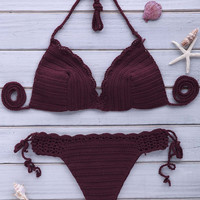 Purple Halterneck Crochet Bikini Set