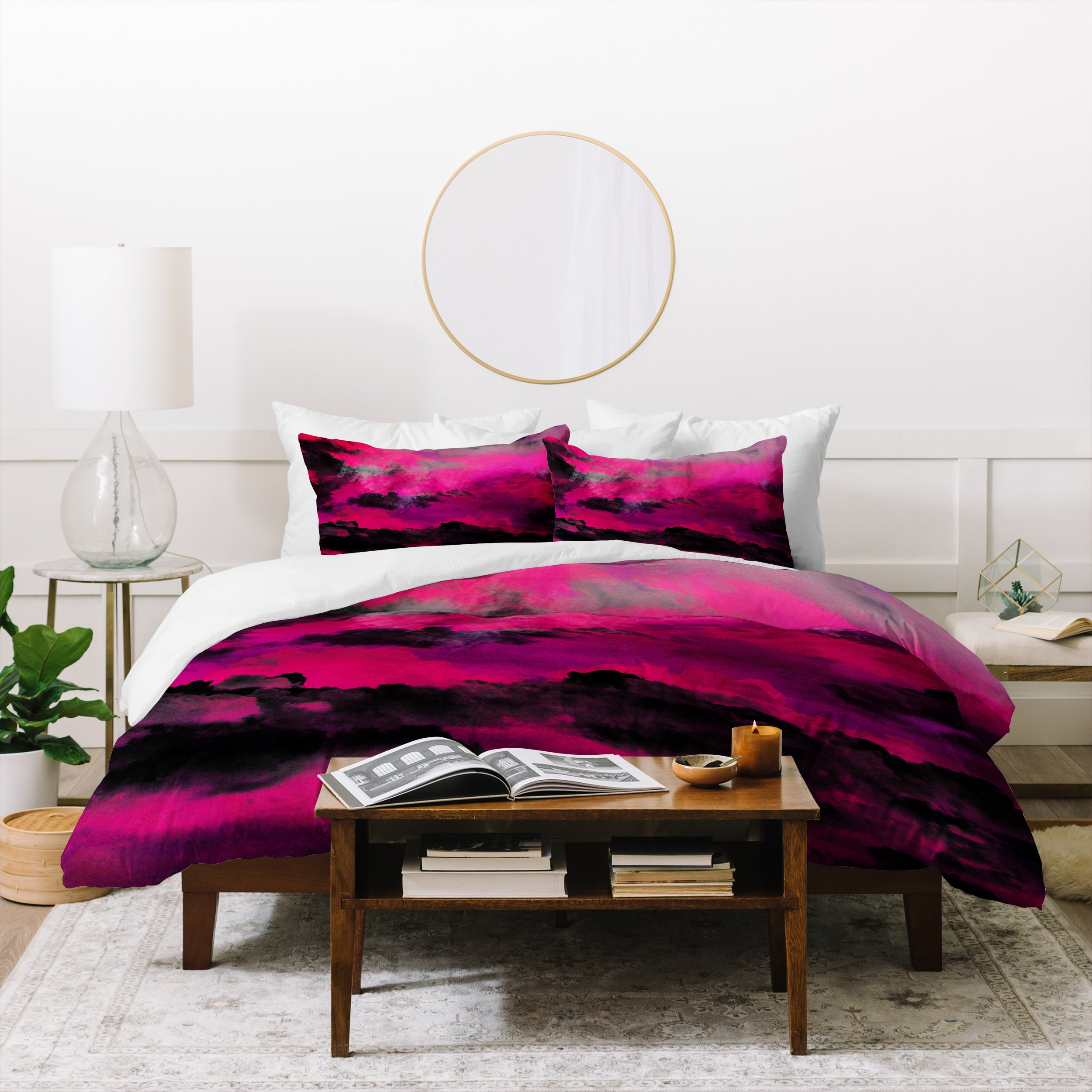 Image of Caleb Troy Raspberry Storm Clouds Duvet Cover