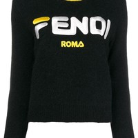 Blended Fabric Cropped Logo Sweater by Fendi