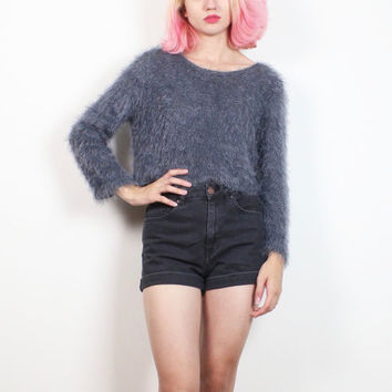 Vintage 1990s Knit Dark Charcoal Blue Silver Gray FUZZY Sweater Cropped Furry Monster Club Kid Rave 90s Crop Louis Feraud S Small M Medium