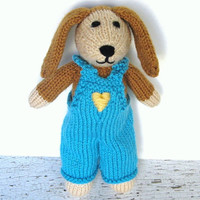"""Hand Knit Dog in Overalls - Stuffed Animal Child Toy - Ready To Ship - Puppy Dog Knit Animal - Plush Doll - Knit Toy Stuffed Dog 10"""" Tall"""