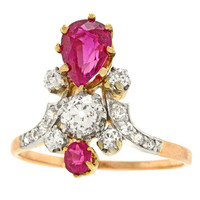 Antique Ruby Diamond Gold Crown Ring