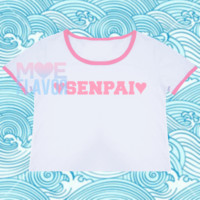 Hearts and Senpai Pink and White Crop Top
