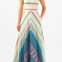 Chevron stripe print cotton maxi dress