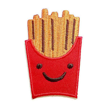 Happy Cute French Fries New Iron On Patch Embroidered Applique Size 4.6cm.x7.1cm.