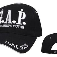 BLACK G.A. P. God Answers Prayers Christian Baseball Cap, I Love Jesus Hat, Adjustable to Fit Most Men, Women and Teens, Religious Headwear